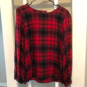 Ann Taylor Loft Red Plaid Small Top